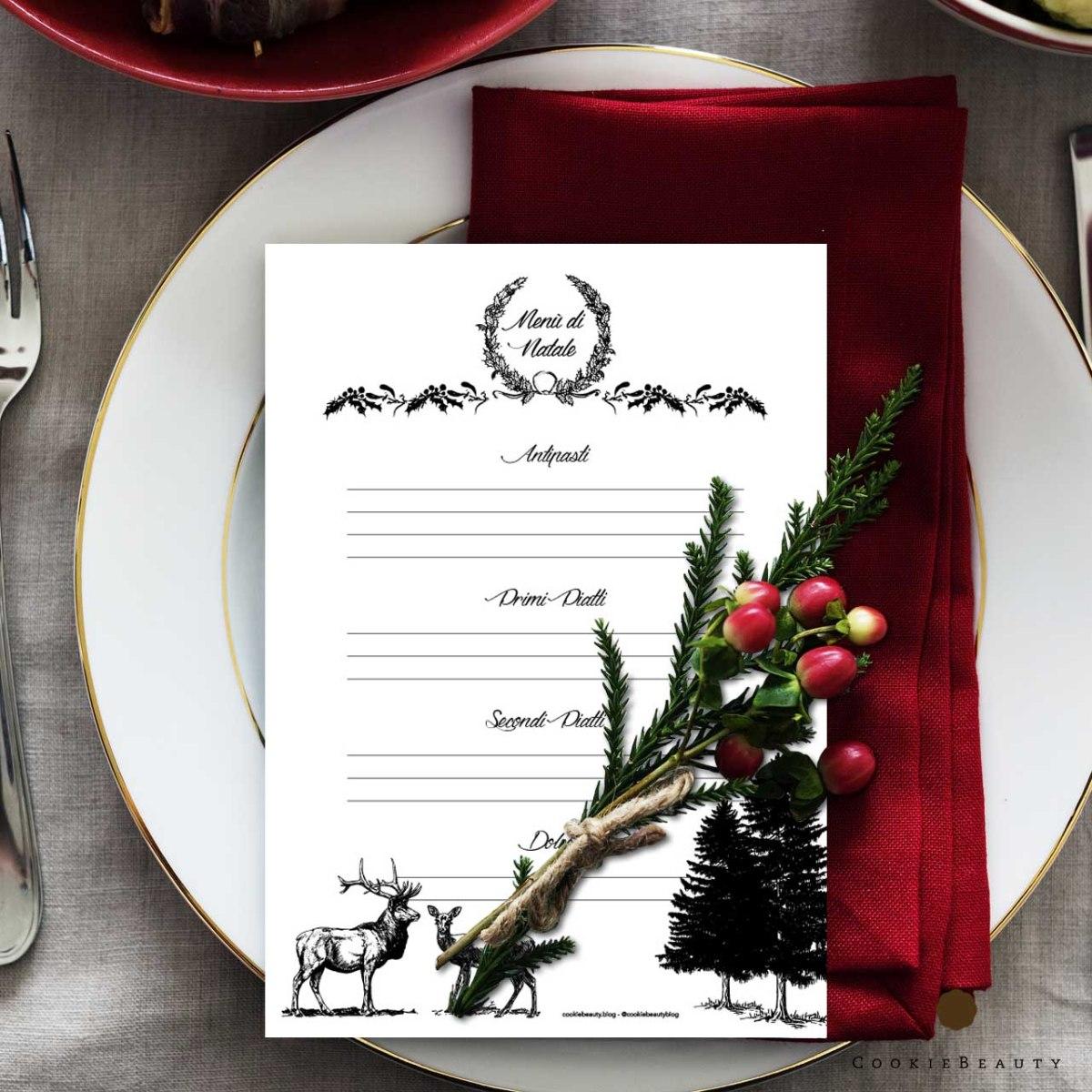 🎁 Counting down to Christmas -21: Secondo freebie, il menù di Natale da stampare! 🎁